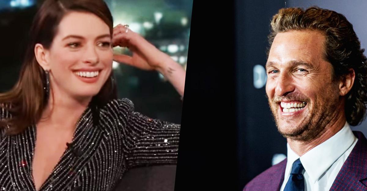 Anne Hathaway parádésan csinált viccet Matthew McConaughey-ból (videó)